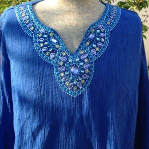 🦋 Alfred Dunner 100% Cotton embroidered Tunic. 🦋